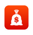 money bag with us dollar sign icon digital red vector image vector image