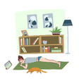 morning workout at home young girl in plank vector image vector image