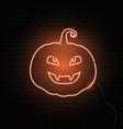 neon pumpkin sign halloween background vector image vector image