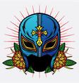 old school mask wrestler design vector image vector image