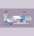 patient and hospital doctor with cart full of vector image