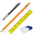 Pencil eraser ruler and pen isolated on white vector image vector image