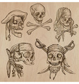 Pirates - skulls collection Line art vector image vector image
