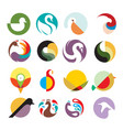poultry fowl bird logo template set vector image