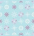 purple and white snowflakes on blue background vector image vector image