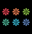Rainbow flower logo icons and design elements vector image vector image
