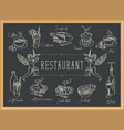 restaurant menu with sketches different dishes vector image vector image