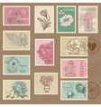Retro Flower Postage Stamps vector image vector image