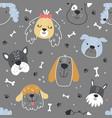 scandinavian dog pattern on a grey background vector image vector image