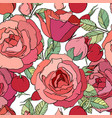 seamless floral pattern with romantic rose flowers vector image vector image