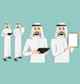 set of arab man with tablet computer vector image