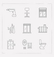 set of decoration icons line style symbols with vector image vector image