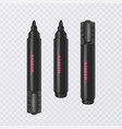 set of realistic black markers on a transparent vector image vector image