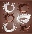 set of realistic splashes and drops of milk vector image