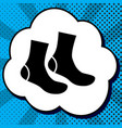 socks sign black icon in bubble on blue vector image vector image