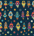 space astronaut animals on blue seamless tile vector image