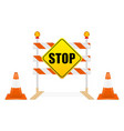 stop sign on road block tools vector image