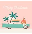 summer holiday vacation with santa claus and car vector image vector image