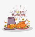 turkey food with hats and autumn leaves vector image vector image