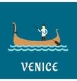 Venetian gondolier flat travel design vector image