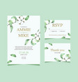 wedding card template cotton flower hand drawn vector image vector image