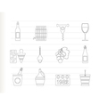 wine and drink icons vector image