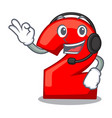 with headphone number two red isolated on mascot vector image