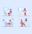 women work at home flat vektor vector image