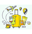 yellow suitcase and travel accessories vector image
