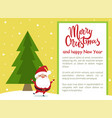 merry christmas happy new year poster santa tree vector image