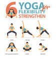 6 yoga poses for workout in flexibility strengthen vector image vector image