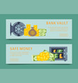 bank safe and vault banners vector image vector image