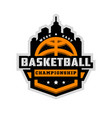 basketball championship sports logo emblem vector image vector image