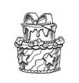 birthday cake decorated with bow retro vector image