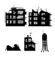 black silhouette of broken city vector image vector image