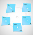 Blue paper stickers with 5S method template on vector image vector image