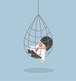 Businessman caught in a net trap vector image