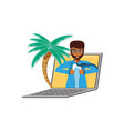 businessman unbuttoning his shirt in laptop with vector image vector image