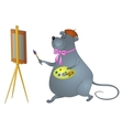 Cartoon rat artist vector image vector image