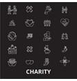 charity editable line icons set on black vector image