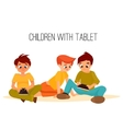 Children girls of different ages played in tablet vector image