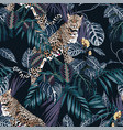 colorful floral night pattern with tiger leopard vector image