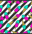 colorful pattern ice cream on a striped vector image vector image