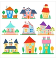 Cute cartoon houses collection Funny colorful kid vector image vector image