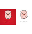 Cute pig on red and white background chinese new