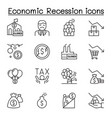 economic recession business crisis icons set in vector image