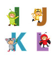 English alphabet with kids in animal costume i-l
