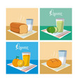 fruit juice and bread with milk cartoons vector image