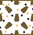 funny bears with yellow and black stars vector image