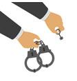 handcuffs in his hands vector image vector image